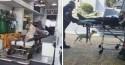 Cachorrinho super atencioso acompanha dono em ambulância em ida e volta de hospital