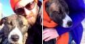 Ciclista salva cão mistura de Pit Bull e Husky de afogamento em rio congelante