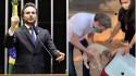 Deputado Federal Fred Costa na Câmara dos Deputados. Momento do resgate dos animais. (Foto: Reprodução Facebook/Fred Costa)