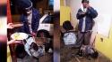 No Peru, uma mulher comprou comida em um restaurante para alimentar um morador de rua e seu cachorro que estavam com fome: (Foto: Wapa.pe)