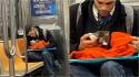 Mulher se emociona ao ver homem alimentando gatinho resgatado em um metrô em Nova York. (Foto: Facebook/Gillian Rogers)