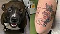 Dona homenageia o seu cachorro pit bull que não tem um dos olhos com uma tatuagem. (Foto: Facebook/Erica Pomponio via Dogspotting Society)