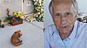 O homem veio a falecer em fevereiro de 2021 e o seu cachorrinho foi encontrado em frente ao jazigo.