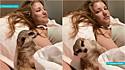 O suricato que vive em Moscou (Rússia) com a sua dona Ksudevil, em vídeo viral no TikTok segura o sono para não dormir durante filme.