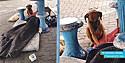 Cachorro entristecido ao lado do corpo de seu dono morador de rua.