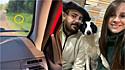 Casal para carro em beira de estrada para resgatar cachorro abandonado.