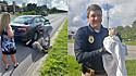 Policiais resgatam gato que estava preso dentro da roda do carro na Carolina do Norte (EUA).