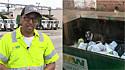Coletor de lixo encontra cadela abandona em container, resgata e a leva para um abrigo de animais.