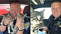 Policial resgata dois gatinhos abandonados em caixa transportadora em via movimentada.
