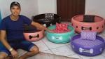 Empreendedor paraibano faz sucesso criando caminhas de pneus para pets