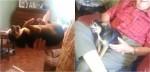 Em vídeo hilário, cãozinho se finge de morto para evitar contato com filho do dono