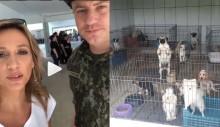 Polícia faz homenagem à Luisa Mell por resgate de mais de 1700 cães em canil clandestino em SP