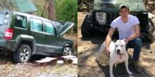 Pitbull puxa seu dono para fora de carro após acidente