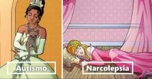 Artista retrata princesas da Disney com distúrbios para enfatizar importância dos cães de serviço