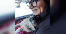 Cachorro esquecido no frio se derrete de gratidão por mulher que o resgatou