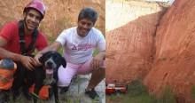 Para resgatar cão de 20 kg a 15 metros de altura, bombeiros fazem rapel em barranco de MG