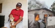 Populares arrecadam R$ 45 mil para pedreiro que perdeu tudo em incêndio, exceto seu amado cão
