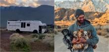 Mochileiro americano larga emprego para viajar país afora com seus 10 cães recém-adotados