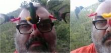 Homem instala bebedouros em óculos para atrair beija-flores e o resultado é encantador; vídeo