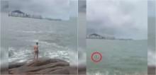 Em atitude heroica, homem salva vida de cão dachshund que estava se afogando em alto mar; confira o vídeo