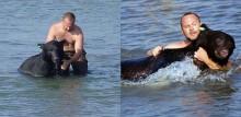 Biólogo americano pula no mar para salvar urso de quase 200 kg na Flórida