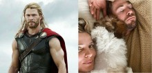 Esposa do ator Chris Hemsworth, o Thor, compartilha foto do astro tirando uma soneca com o cão do casal