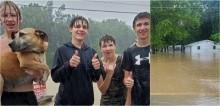 Cachorro que estava sozinho em casa é salvo de inundação por adolescentes