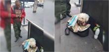 Vendedor ambulante de chicletes trabalha incansavelmente para garantir que seu cão não passe fome