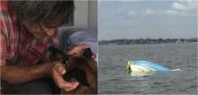 Depois de naufragar com o dono, cadela da raça pastor alemão nada por 11 horas em busca de socorro