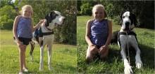 Com apoio de cão de terapia, criança com doença degenerativa consegue andar, nadar e andar de bicicleta
