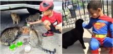 Seguindo exemplo de tia, menino se veste de super-herói para alimentar gatos de rua