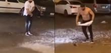 Em meio a chuva forte, rapaz tira a própria camisa para resgatar gambá