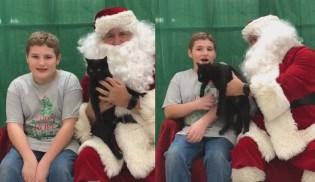 Menino se emociona ao ganhar gatinho do Papai Noel