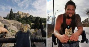Homem resgata gato perdido enquanto andava de bicicleta ao redor do mundo