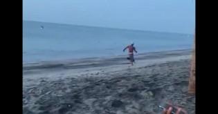 Cães de rua perseguem homem após ele tentar chutar um de seus amigos (veja o vídeo)