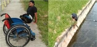 Cadeirante se rasteja para salvar gatinho que estava preso em córrego; confira
