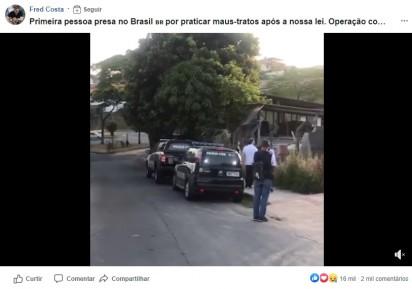 Momento em que o Deputado Federal Fred Costa e a Polícia Civil chegam no local para resgatar os animais. (Foto: Reprodução Facebook/Fred Costa)