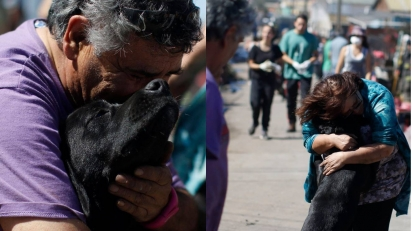 Momento em que a família reencontra seu amado cão. (Foto: Facebook/La Tercera)