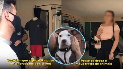 Momentos em que o delegado confronta a mulher por crime de maus-tratos ao seu cachorro pit bull. (Créditos: Facebook/Delegado Bruno Lima)