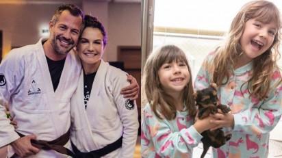 Malvino Salvador e Kyra Gracie presenteiam filhas com um cachorrinho. (Foto: Instagram/eumalvinosalvador)