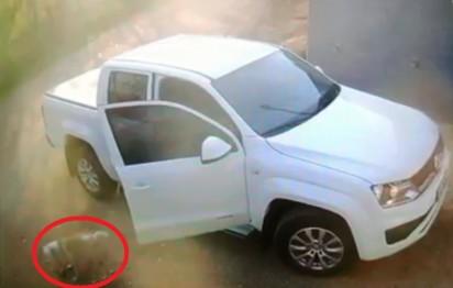 Dono abre porta do carro para o cachorro sair. (Foto: Reprodução Facebook/A Voz da Região)