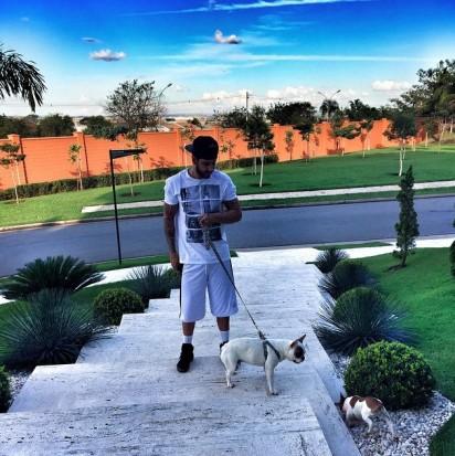Gusttavo passeando com seus cachorros. (Foto: Instagram/gusttavolima)