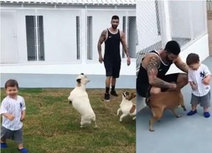 Os filhos de Gusttavo Lima se divertem com os animais de estimação. (Foto: Instagram/gusttavolima)