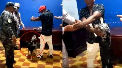 Cachorro entra em delegacia e convence autoridades a libertar dono. (FOTO: FACEBOOK/VICTOR LOPEZ)