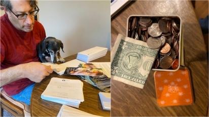 Cachorro dachshund doa dinheiro que achou durante seus passeios para abrigo de animais. (Foto: Facebook/Richard Truett)
