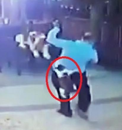 Gata ataca homem e cachorro e quase faz ele perder as calças em via pública. (Foto: Reprodução/Newsflash)