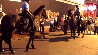 Cavalo policial é filmado se juntando a um grupo de artistas de rua para dançar jazz. (Foto: Reprodução Youtube/Antoinenaccache)