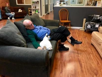 Terry Lauerman, de 75 anos, vai ao abrigo de animais todos os dias e acaba cochilando nas suas idas. (Foto: Facebook/Safe Haven Pet Sanctuary Inc)
