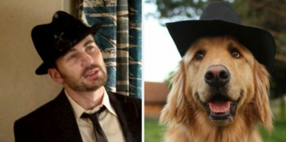 Chris Evans e golden retriever de chapéu preto. (Foto: Twitter/@retrievans)