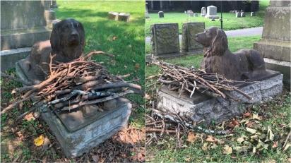 Estátua de cachorro em cemitério nova-iorquino é visitada por turistas que deixam gravetos sob seus pés. (Foto: Twitter/@KevinTMorales | Arquivo Pessoal/Marian Blair)
